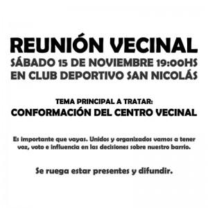 Convocatoria Reunión Vecinal 15/11/2014