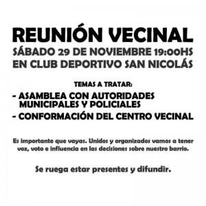 Panfleto Reunión Vecinal Nº 4 - Sábado 29/11/2014
