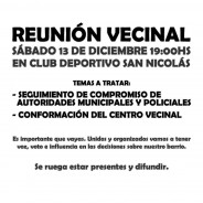 Convocatoria a Reunión Vecinal Nº5