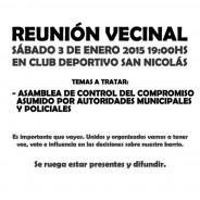 Convocatoria a Reunión Vecinal Nº6