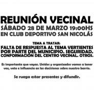 Convocatoria a Reunión Vecinal Nº9