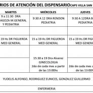 Horarios de atención del Dispensario Villa San Nicolás