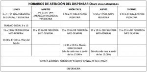 Horarios de Atención del Dispensario de Villa San Nicolás